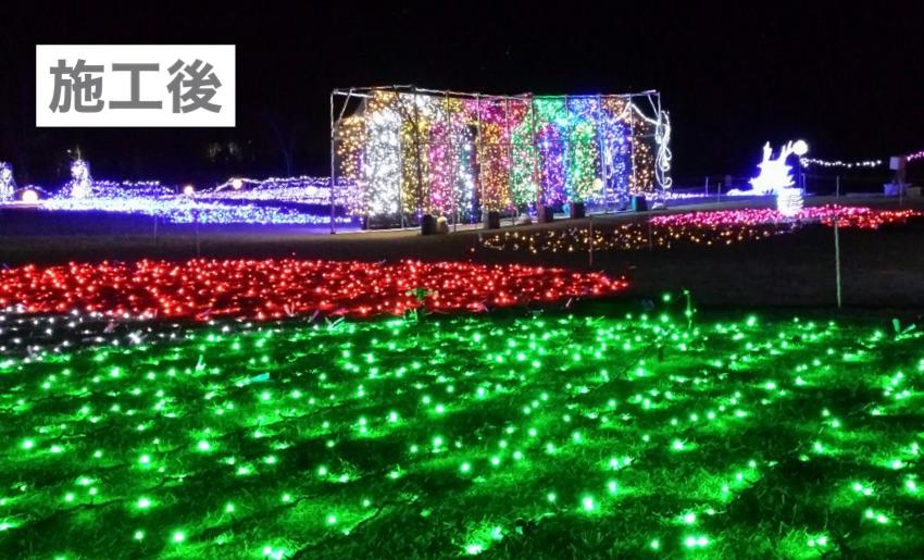 ledストリングライトの緑や赤、ledネットライトを屋外の芝生に施工