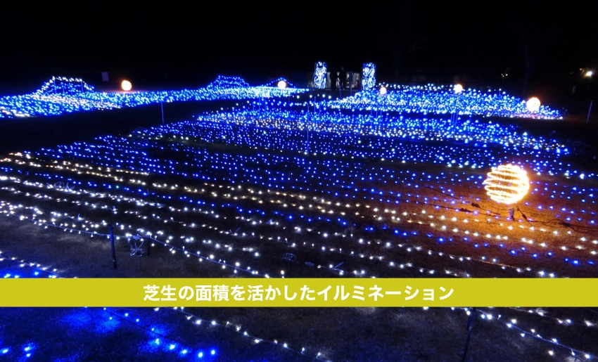 芝生広場のイルミネーション施工例。福島県いわき市