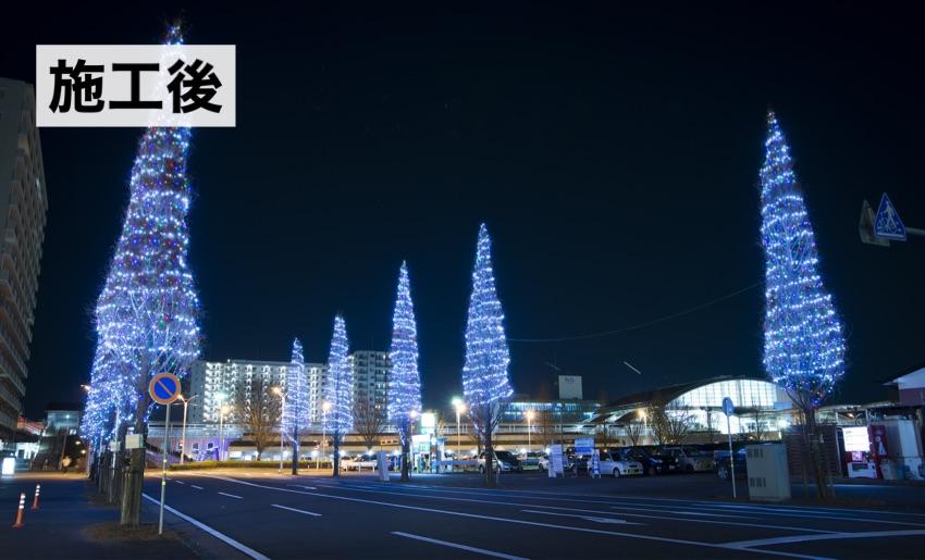 茨城県牛久市のイルミネーション施工事例